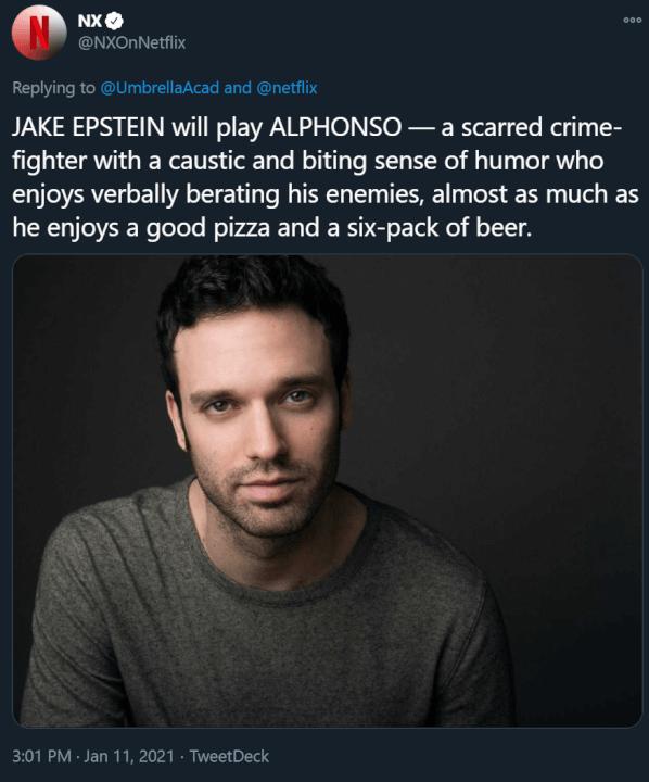 novos membros do elenco academia guarda-chuva temporada 3 academia pardal jake epstein