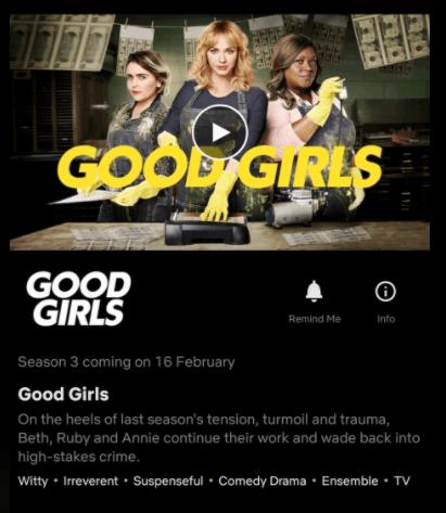 data mostrada na 3ª temporada de Good Girls