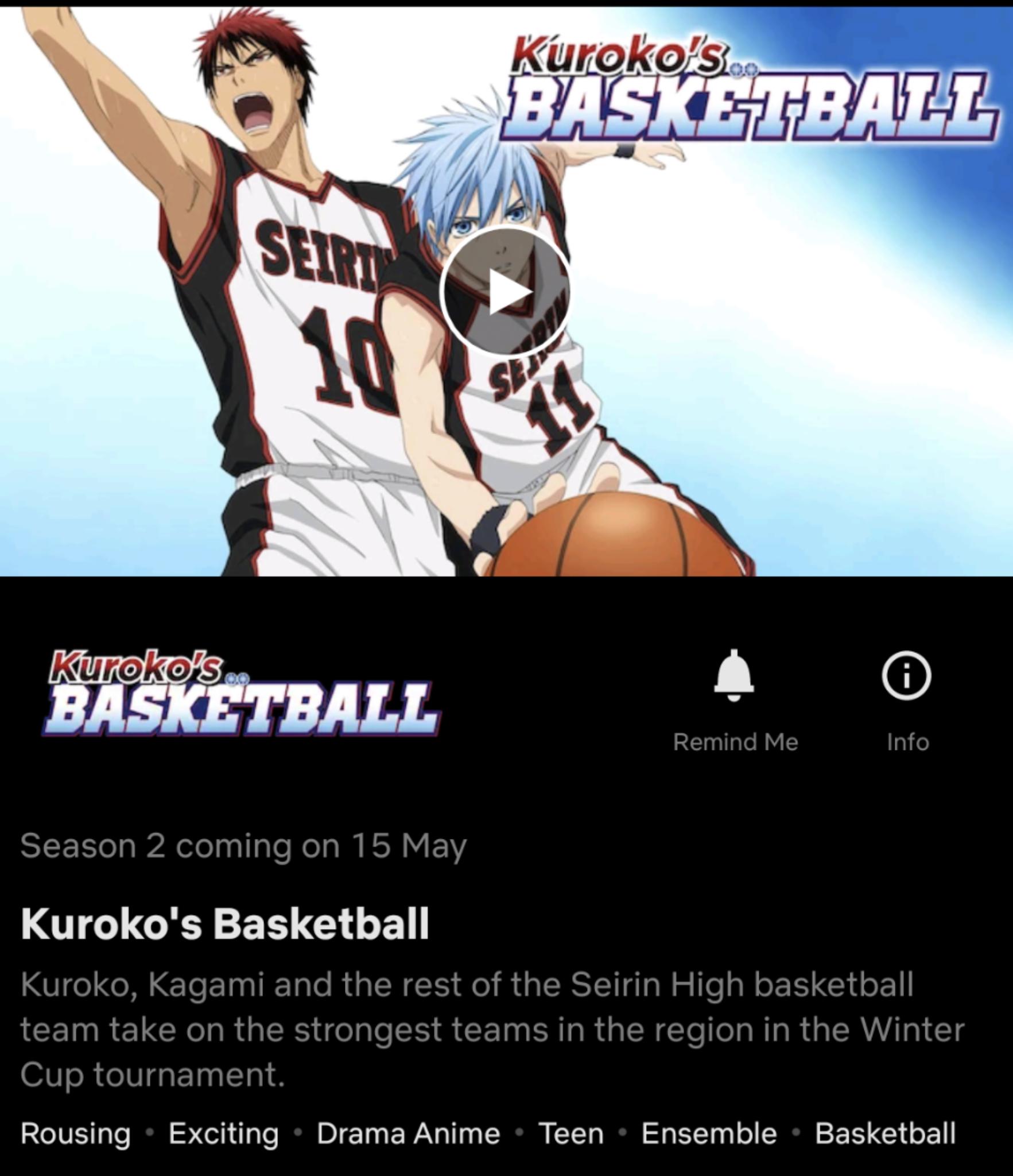 Data de lançamento da 2ª temporada do basquete Kurokos