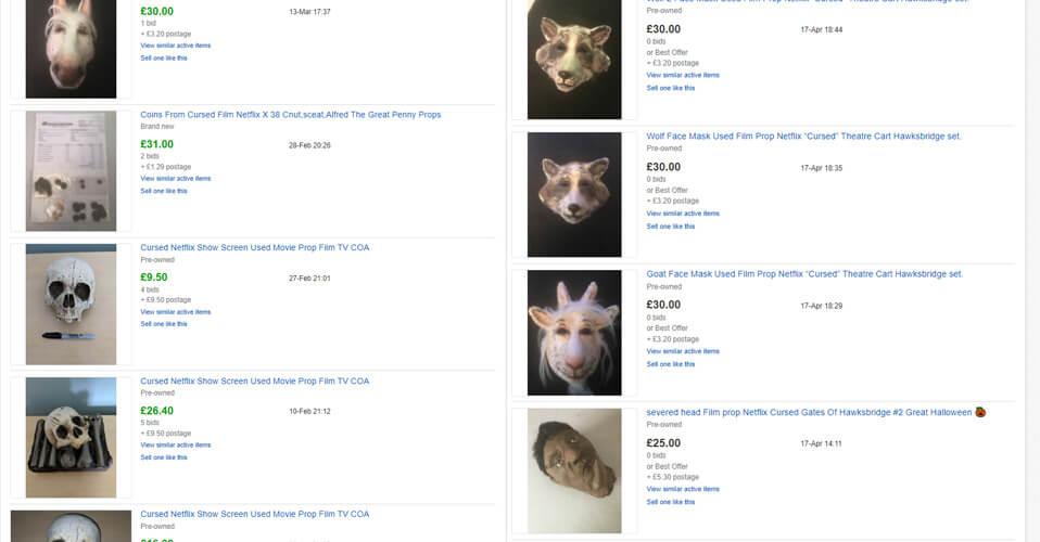 Ofertas do eBay sobre objetos amaldiçoados