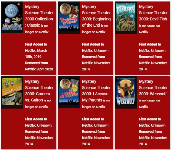 Títulos de Mystery Science Theatre removidos do Netflix