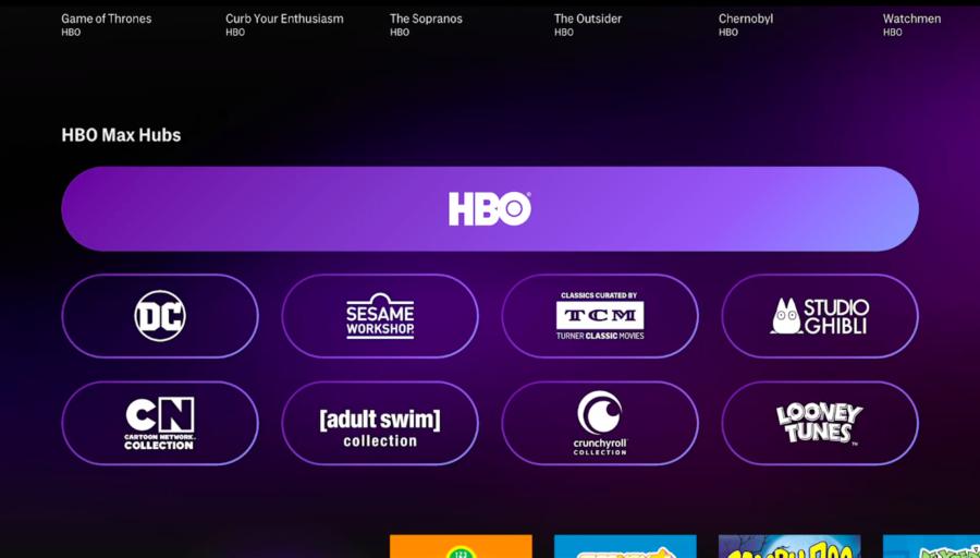 marcas internas hbo max no aplicativo